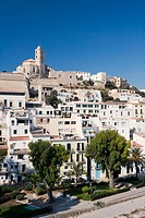 Old town (Dalt Vila) with cathedral in background. Ibiza, Balearic Islands. Spain