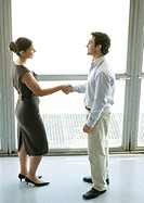 Businessman and businesswoman shaking hands, full length