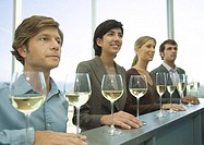 Four adults standing in row with hands on bar, glasses of wine in front of them