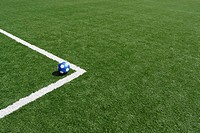 High angle view of a soccer ball in a soccer field