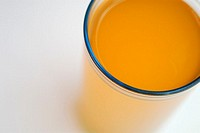 High angle view of orange juice in a glass