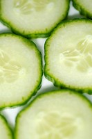 High angle view of slices of cucumber