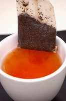 High angle view of a teabag in a cup