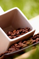 Low angle view of coffee beans in a cup