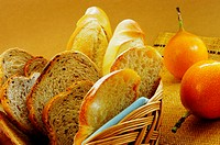 Close-up of bread and fruits