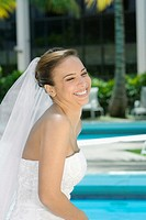 Side profile of a bride smiling