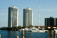 Yachts moored at a dock, Miami, Florida, USA