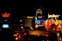 Buildings in a city lit up at night, Las Vegas, Nevada, USA