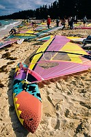 High angle view of colorful surfboards on a beach, Nassau, Bahamas