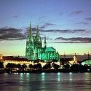 Cathedral lit up at dusk, Cologne Cathedral, Cologne, Germany