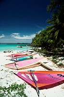 Colorful sails lying on a serene beach, St. Bant's