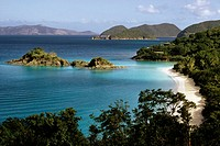 View of the seashore, Trunk bay beach, St. John, Virgin Islands