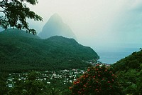 The Grand Piton on the island of St. Lucia is shrouded in mist