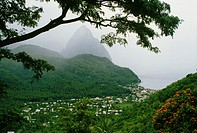 High angle view of a befogged volcano, St. Lucia