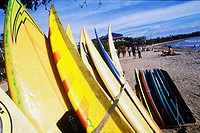 Close-up of surfboards on the beach, Bali, Indonesia