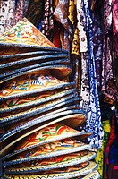 Close-up of a stack of Asian style conical hats in a store, Bali, Indonesia