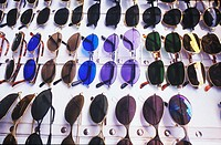 Close-up of sunglasses displayed in a store, Bali, Indonesia