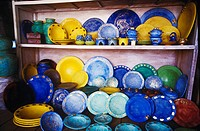 Close-up of plates on a shelf, Bali, Indonesia