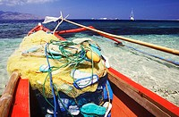 Fishing net in a boat, Bali, Indonesia