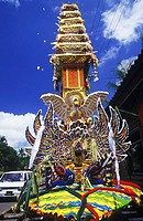 Decorated structure on a road, Bali, Indonesia