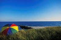 Beach umbrella on the beach, Cape Cod, Massachusetts, USA