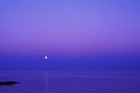 Moon shining over the sea, Cape Cod, Massachusetts, USA