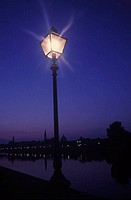Lamppost lit up at night