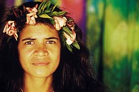 Portrait of a young woman wearing a laurel wreath, Hawaii, USA