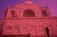 Silhouette of a person in front of a monument, Taj Mahal, Agra, Uttar Pradesh, India
