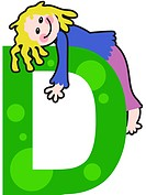 A kid with the letter D