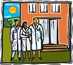 three doctors in front of a hospital