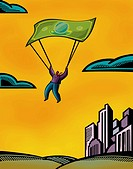 A man using a bank note as a parachute (thumbnail)