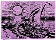 Boat sailing into a sunset on purple background