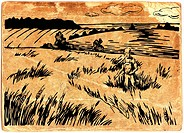 Farmer inspecting his crops, on vintage paper background