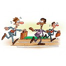 An illustration of a businessman baton race (thumbnail)