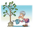An old woman watering money plant that is growing from a bank