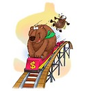 An illustration of bear on a rollercoaster