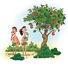 Adam and Eve looking at a snake on a tree bearing dollar fruits