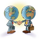 Two businessmen with globes for heads shaking hands