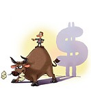A businessman standing on the back of an angry bull