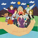 A hand holding multicultural people
