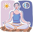 Illustration of a woman meditating