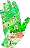A drawing of a currency hand