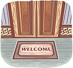 Welcome mat in front of a door