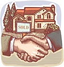 People shaking hands in front of a real estate sold sign