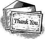 Thank you card, black and white