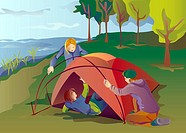 An illustration of a group of friends setting up a tent