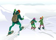 A drawing of a father and his children snowshoeing on snow capped mountains
