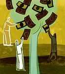An illustration of people picking money from a tree