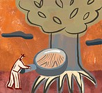 An illustration of a man studying the roots of a tree